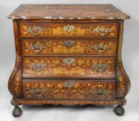 A Dutch walnut floral marquetry bombe ch