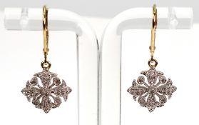 A pair of diamond-set pendant earrings i
