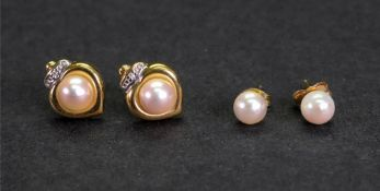 A pair of 18ct gold, cultured pearl and