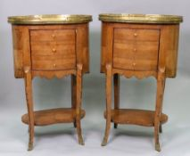 A pair of Louis XV style kingwood table