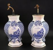 A pair of Delft hexagonal blue and white