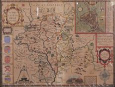 A coloured engraved map, Worcestershire,
