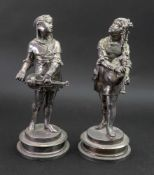 After Lalouette; a pair of electrotype figures of young girl musicians, late 19th century,