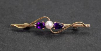 A 9ct gold, amethyst and cultured pearl