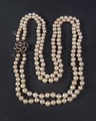 A cultured pearl double row necklace, th