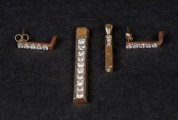 A 9ct diamond-set pendant of rectangular