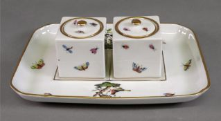 A Herend inkstand, 20th century, painted with the Rothschild Bird pattern,