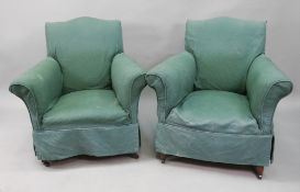 A pair of early 20th century upholstered