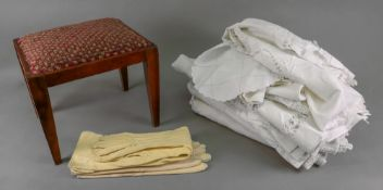 A small late Victorian walnut stool, wit