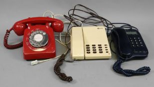 A GPO retro 706 red telephone and 2 othe