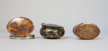 Two Italian tortoiseshell and pique boxes and a silver and tortoiseshell box with cameo, (a.f.
