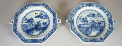 A similar pair of Chinese blue and white export ware plate warmers, circa 1800, 28cm wide, (2).