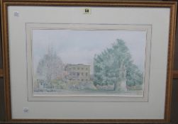 ** Vernon (20th century), View of 4 Swan Walk, from the Chelsea Physic Garden, watercolour,