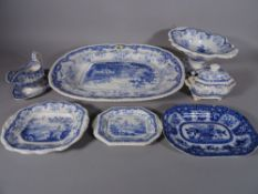 A large blue and white meat platter, 51cm wide, a pair of cornucopia wall vases, gravy boat,