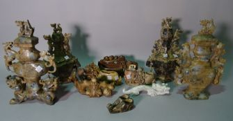 Asian collectables, comprising; modern Chinese soap stone carved items and lidded sensors, (qty).