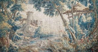 A 19th century tapestry, pastoral landscape design with trees, mill and river,