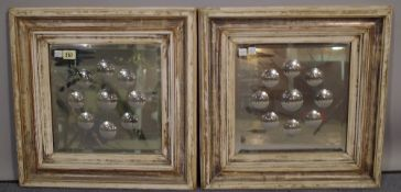 A pair of early 20th century square framed wall mirrors,