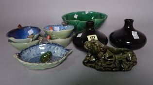 Asian ceramics, including: 20th century bowls and vessels, some with applied frog decoration, (qty).