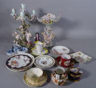 Ceramics, including; Meissen style candelabra (a.