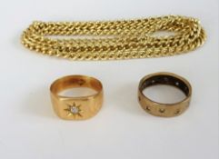 A gold, signet style ring, star gypsy set with a circular cut diamond, detailed 18 C,