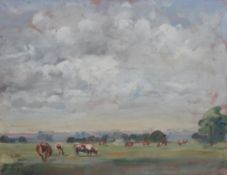 Two 20th century oils, including cattle grazing in a landscape signed 'A Horsley', 33cm x 25.