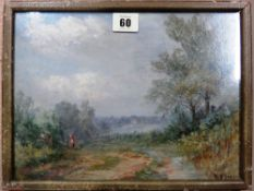 A group of four assorted oil landscapes, various sizes (4).