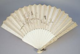 An embroidered fan, circa.