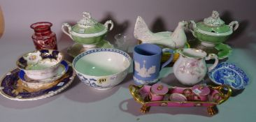 A group of 19th century and later mainly English porcelain, including Coalport plates,