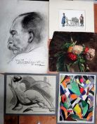 A small group of assorted 19th and 20th century drawings and watercolours of figurative nudes and