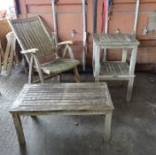 Westminster Teak; a set of four 20th century folding open armchairs and a pair of side tables,