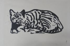 G *, 20th Century, Study of a cat, ink, signed with monogram, 39 x 58cm,