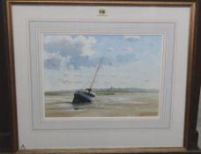 Adrian Taunton (20th/21st century), Low Tide, Blakeney Harbour, watercolour, signed and dated 00,