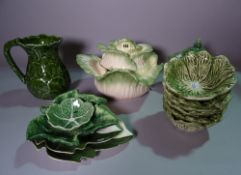 Ceramics, comprising; 20th century green leaf moulded decorative ceramics and tableware, (qty).