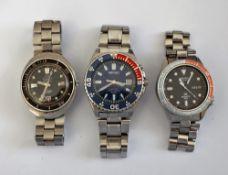A Seiko Kinetic Water Resist 100M steel gentleman's bracelet wristwatch,
