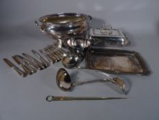 Silver plated items including; a large soup tureen, flatware, soup ladles, letter opener and sundry,