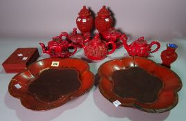 Asian ceramics, comprising; 20th century faux cinnabar lacquer ware, including a pair of vases,