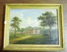 English School (19th century), View of a country house, oil on canvas, 24.5cm x 33cm.
