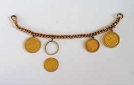 Two Edward VII sovereigns 1903 and 1910 in gold pendant mounts, a George V half sovereign 1911,