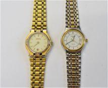 A Longines Quartz steel and gilt lady's bracelet wristwatch,