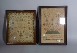 A group of three late 19th century needlework samplers, the largest 38cm x 30cm.