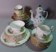 Ceramics, comprising; a group of decorative tea wares, cups,