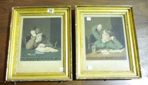 After Thomson, The Student; The Idler, a pair of colour mezzotints by Easling, each 26cm x 19.5cm.