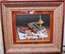 ** Pradal (20th century), Still life of books, oil lamp and walnuts, oil on canvas, signed,