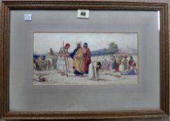 William Dyce (1806-1864), Ruth amid the alien corn, watercolour, 13.5cm x 27.5cm.