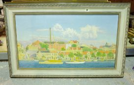 E. G. Tage (20th century), Riverside town, oil on canvas, signed and dated '50, 41cm x 75cm.