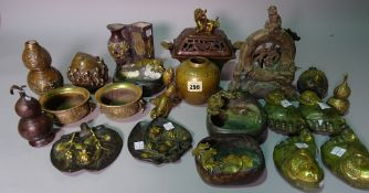 Asian interest, comprising; 20th century bronze vases, trays, scroll weights and sundry, (qty).