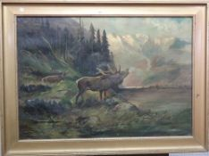 ** Müller (early 20th century), Stag in a landscape, oil on canvas, signed, 68cm x 98cm.