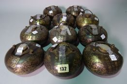 A group of eleven 20th century Chinese bulbous bronze vessels with gilt painted decoration, (11).