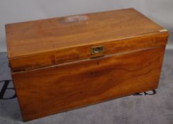 An early 20th century camphor wood trunk with tray interior, 103cm wide x 50cm high.