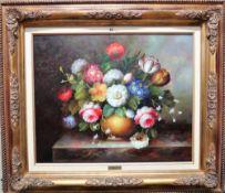 ** Frances (20th century), Flowerpiece, oil on canvas, signed, 49cm x 60cm.